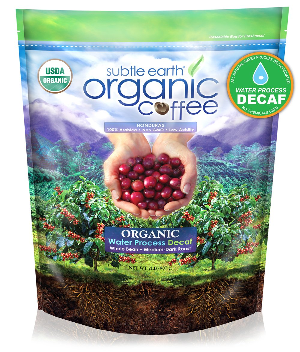 2LB Subtle Earth Organic Swiss Water Process Decaf - Medium-Dark Roast - Whole Bean Coffee - USDA Organic Certified Arabica Coffee by CCOF - 2 Pound by Cafe Don Pablo