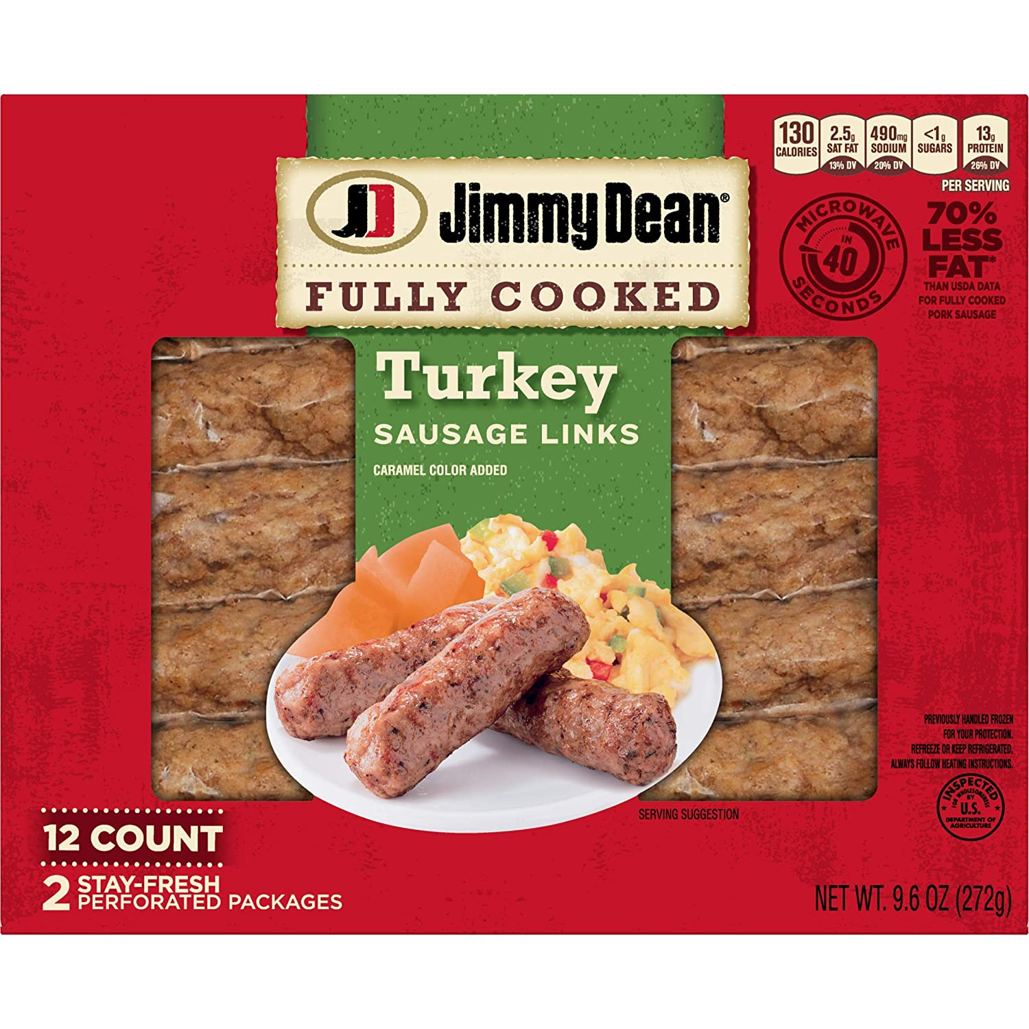 Jimmy Dean Fully Cooked Turkey Sausage Links, Breakfast Sausages, 12 Count