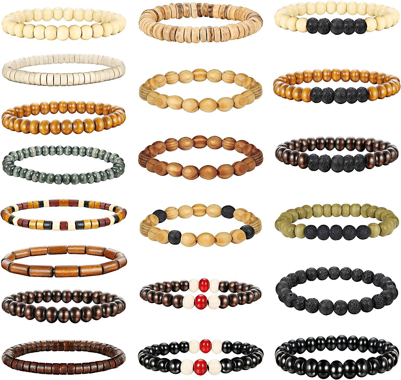 Jstyle 20Pcs Wooden Bead Bracelet for Women Mens Lava Rock Stone Beads Essential Oil Diffuser Beaded Bracelets Bangles Elastic Stretch Bracelet Set