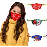 Face Mask for Kids, Cloth Face Mask Reusable Washable, Breathable Cotton Mask with Adjustable Ear Loops and Cute Pattern