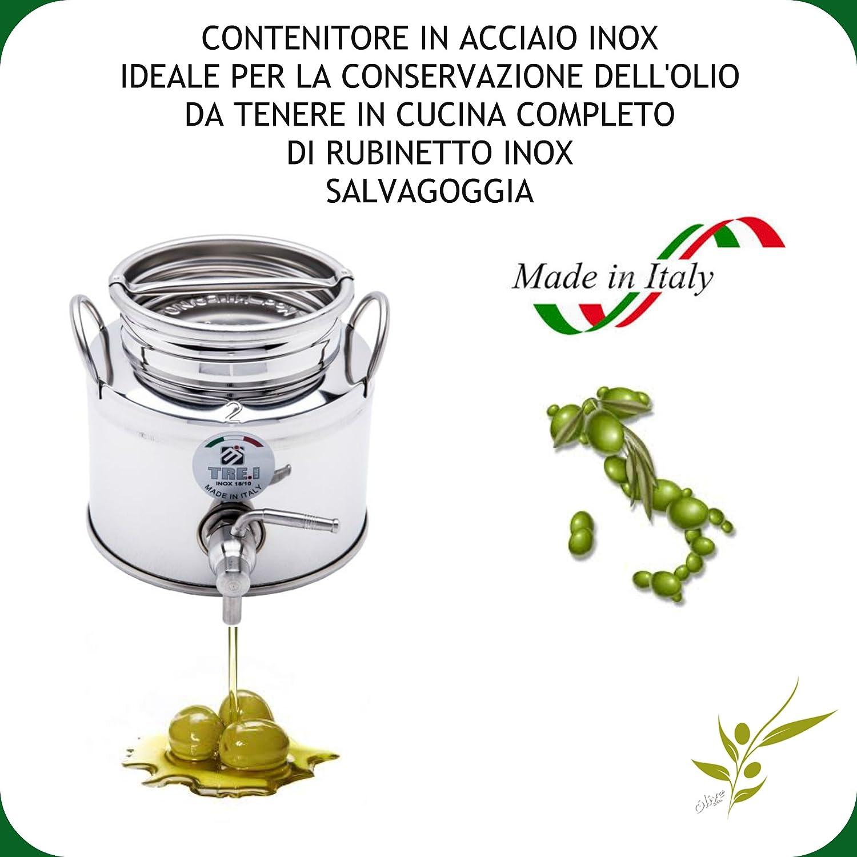 FUSTO IN ACCIAIO INOX 18/10 PER OLIO LT. 2 + RUBINETTO SUPERFUSTI