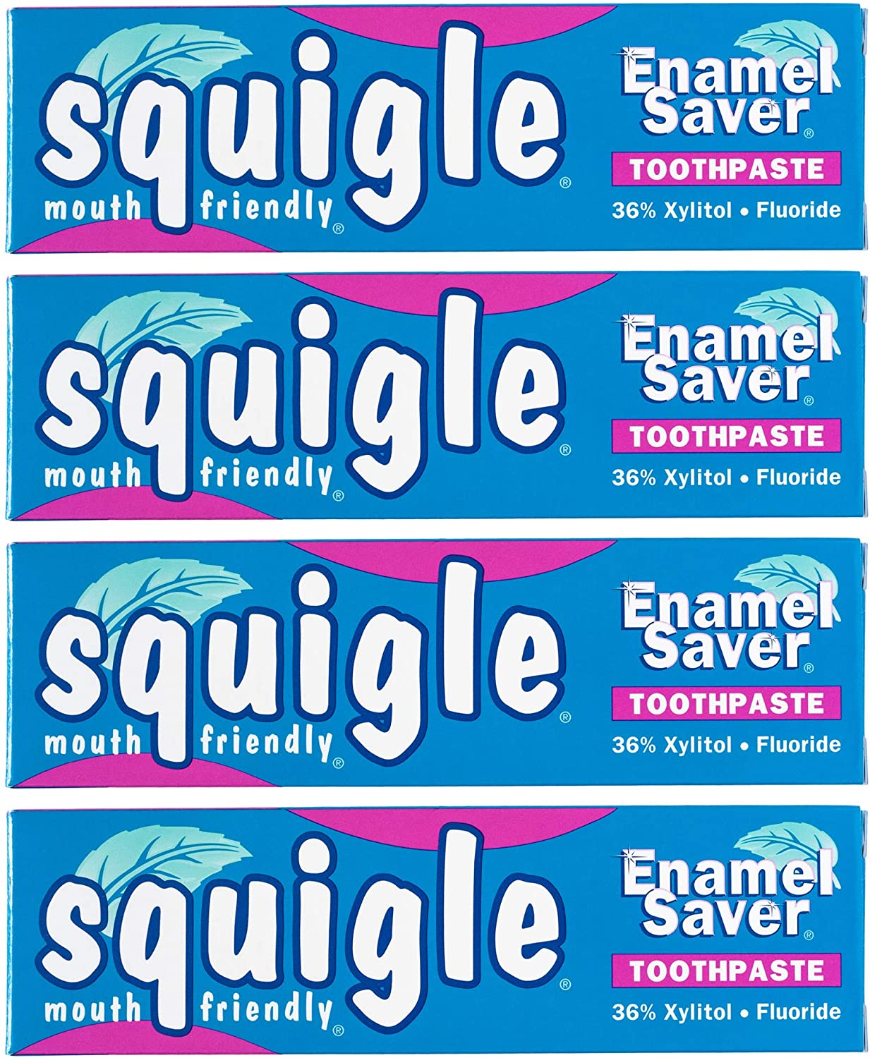 Squigle Enamel Saver Toothpaste (Helps Prevent Canker Sores, Perioral Dermatitis, Bad Breath, Chapped Lips. Soothes and Protects Dry Mouths) - 4 Pack