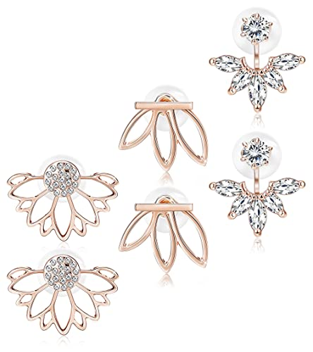 Amazon.com: Jstyle 3 pares de pendientes de flor de loto ...