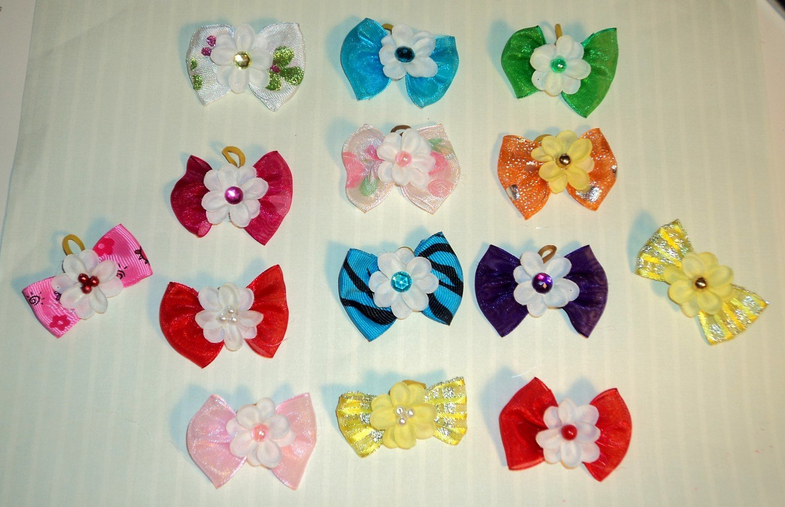 Lot 100 Dog Hair Bow Butterfly Bow Collection- Super Value Pack for groomers or PET shops - Variety of colors and designs