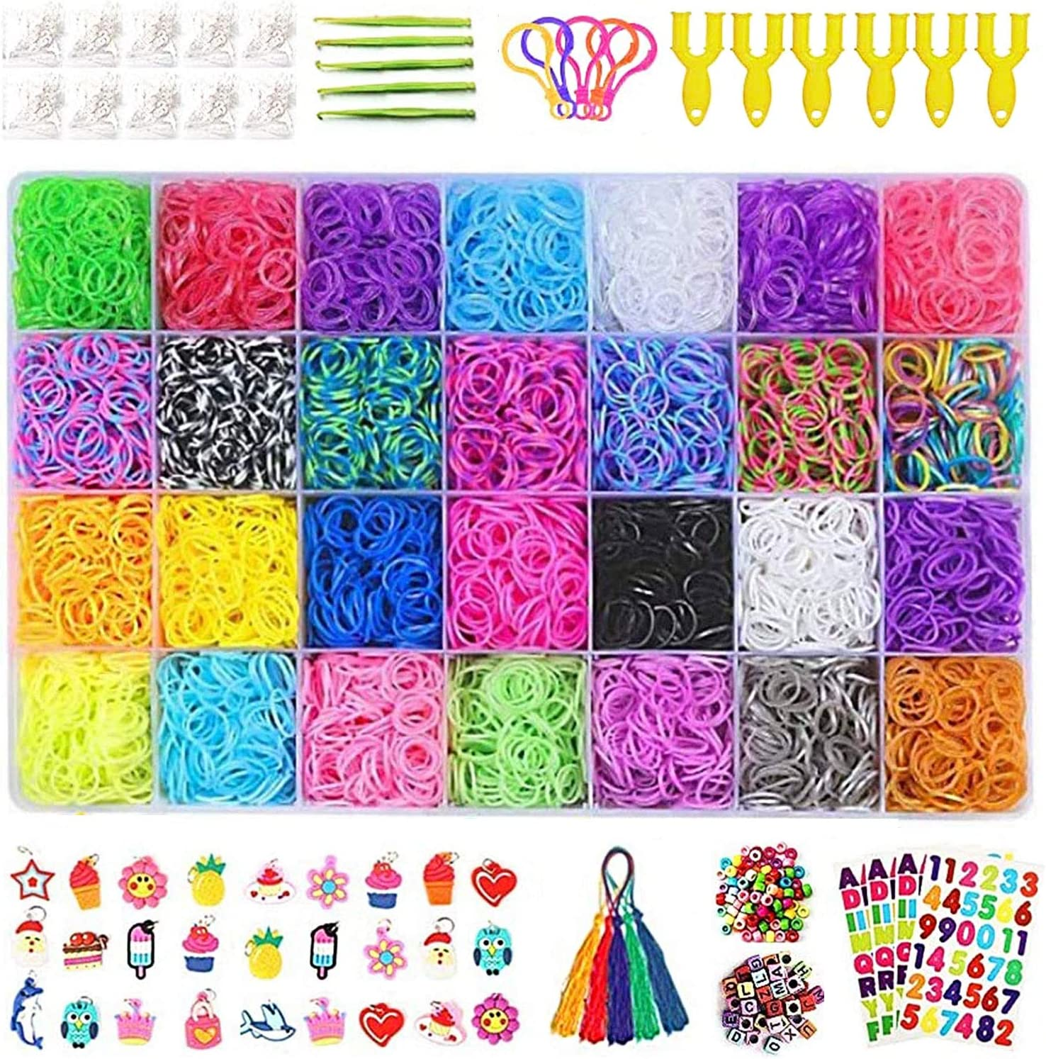 Rainbow Rubber Band Supplement Kit,11900 Rainbow Rubber Band 28 Colors,10000 Rubber Band,600S Clip,140 Beads,35 ABC Letters,30 Pendants,10 Backpack Hooks,5 Tassel,5...