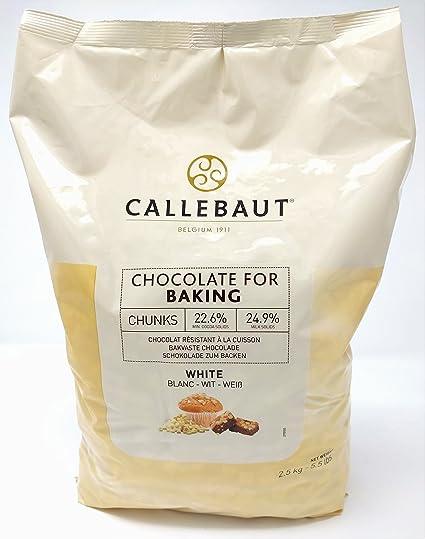 Callebaut - Trocitos de Chocolate Blanco para Hornear 2,5kg
