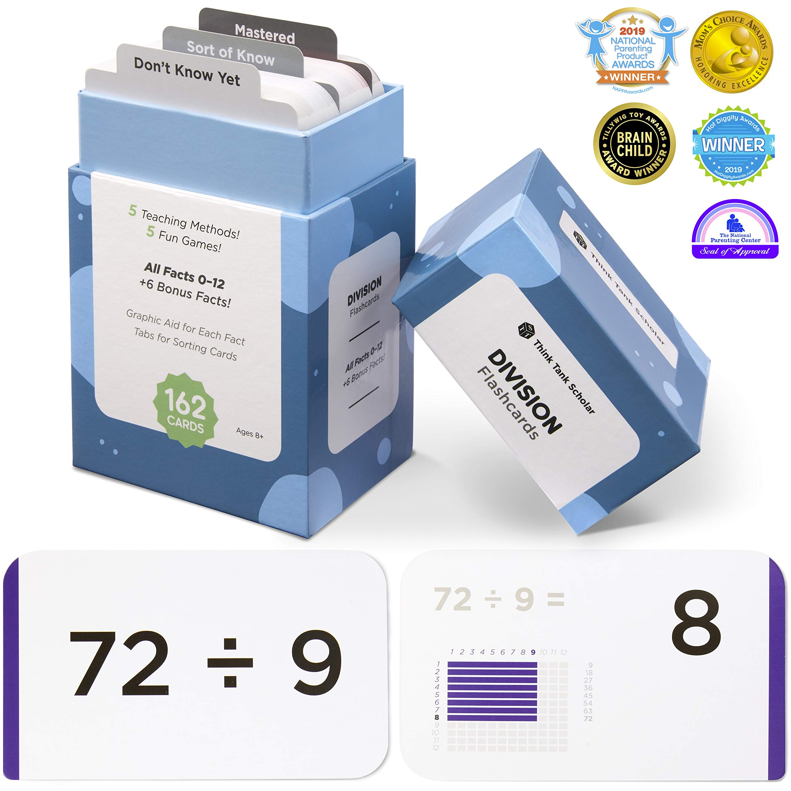 Think Tank Scholar 162 Division Flash Cards | All Facts 0-12 Color Coded | Best for Kids in 3rd, 4th 5th & 6th Grade