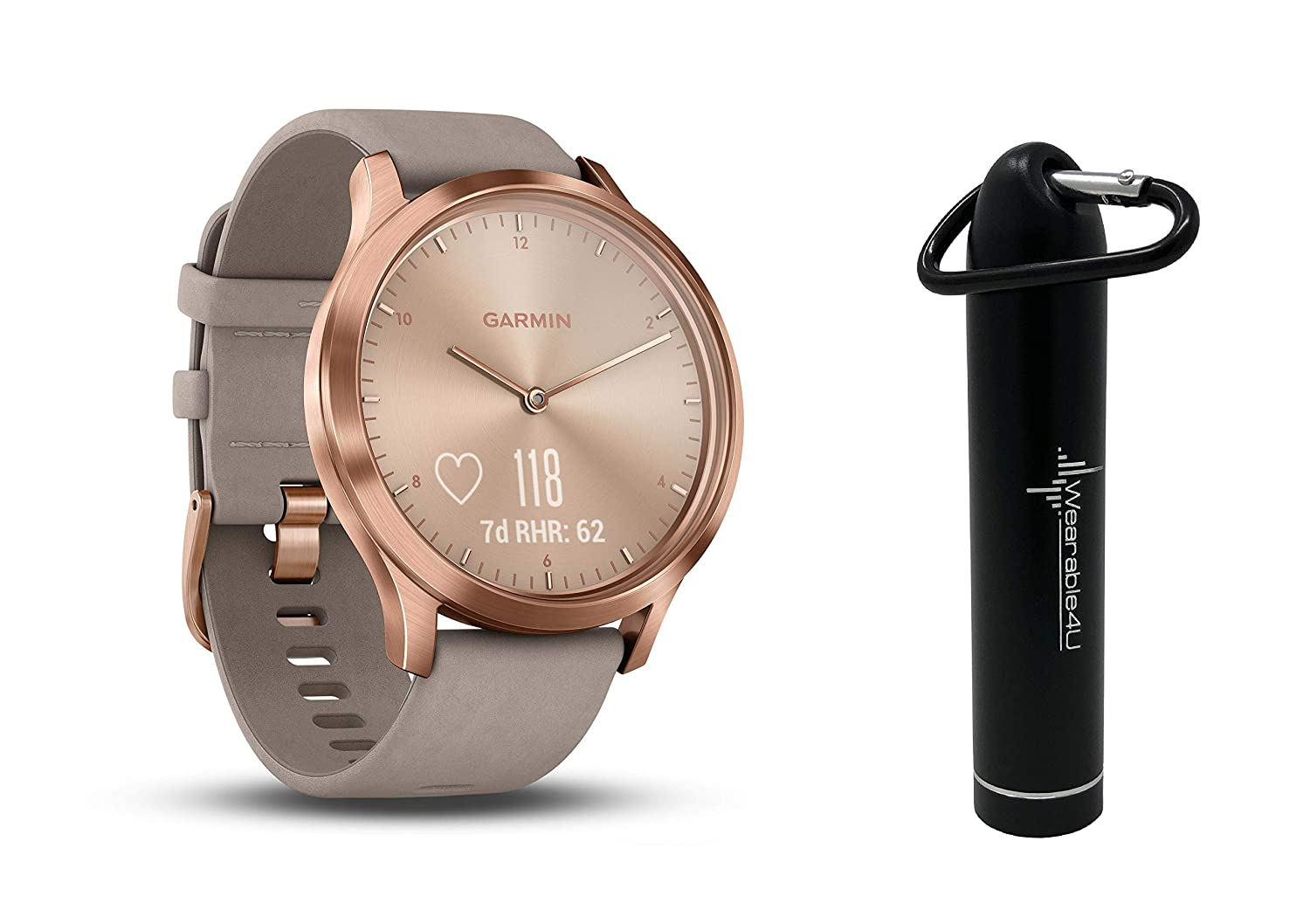 Garmin Vivomove HR Multi Sport Hybrid Smartwatch with Wearable4U Compact Power Bank Bundle (L: 148-215 mm, Premium, Rose Gold with Gray Suede Band)