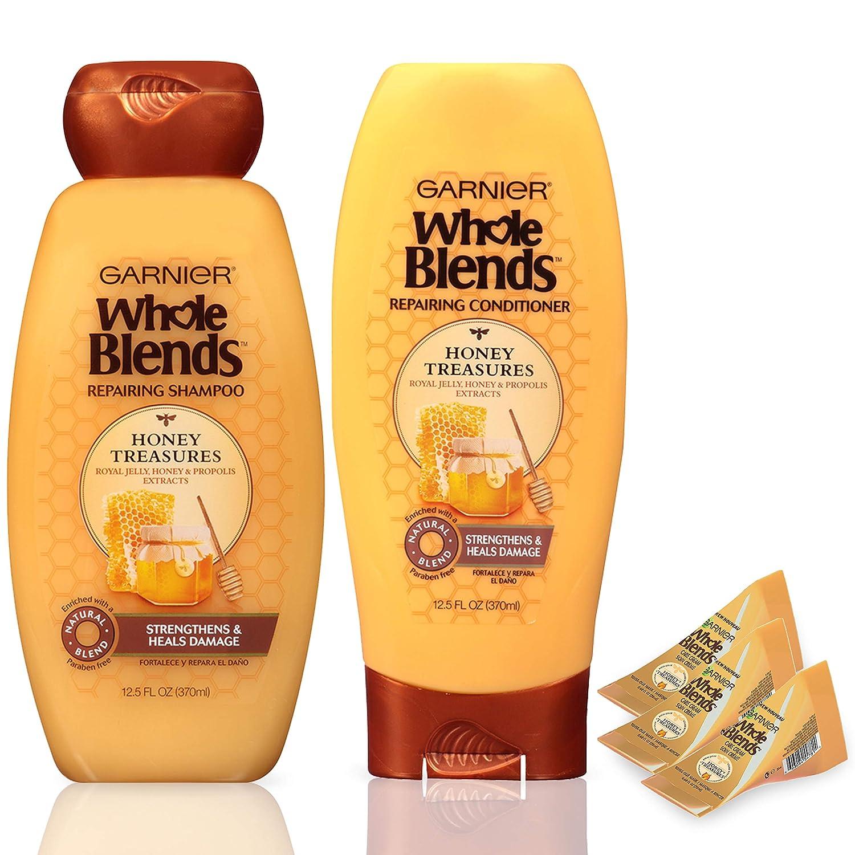 Garnier Hair Care Whole Blends Honey Treasures Repairing Shampoo, Conditioner, and Cream Hair Masks, For Damaged Hair 1 Kit