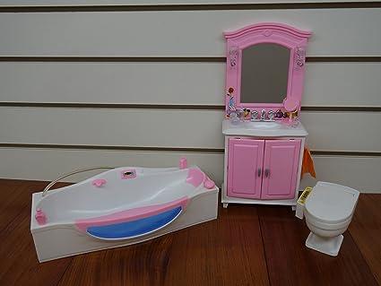 Barbie Size Dollhouse Furniture  Bath Room With Bath Tub By Gloria
