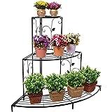 Nuha® Metal 3 Tier Pot Rack, Indoor/Outdoor Flower Pot/Plant Stand for Home Garden Balcony Living Room Decor, Corner…