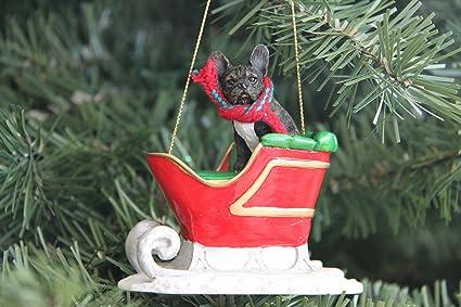 French Bulldog Christmas Ornament.French Bulldog Sleigh Christmas Ornament