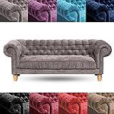 Mobilier Deco Chesterfield Sofa 3 Sitzer Violett Aus Samt Amazon De