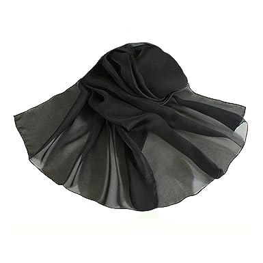 noir uni oblongue pur soie mousseline de soie écharpe  Amazon.fr ... 6a9a3dc1871