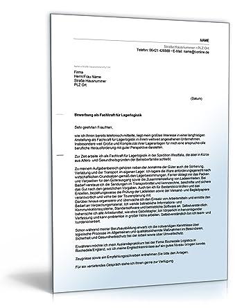 Anschreiben Bewerbung Lagerlogistik Word Dokument Amazonde Software