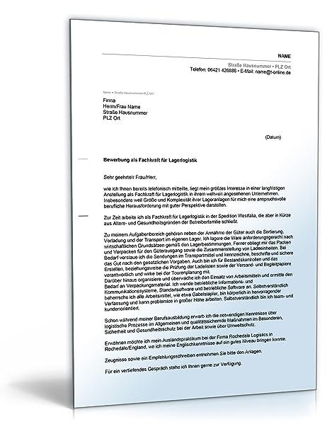 anschreiben bewerbung lagerlogistik word dokument amazonde software - Bewerbung Als Fachkraft Fur Lagerlogistik