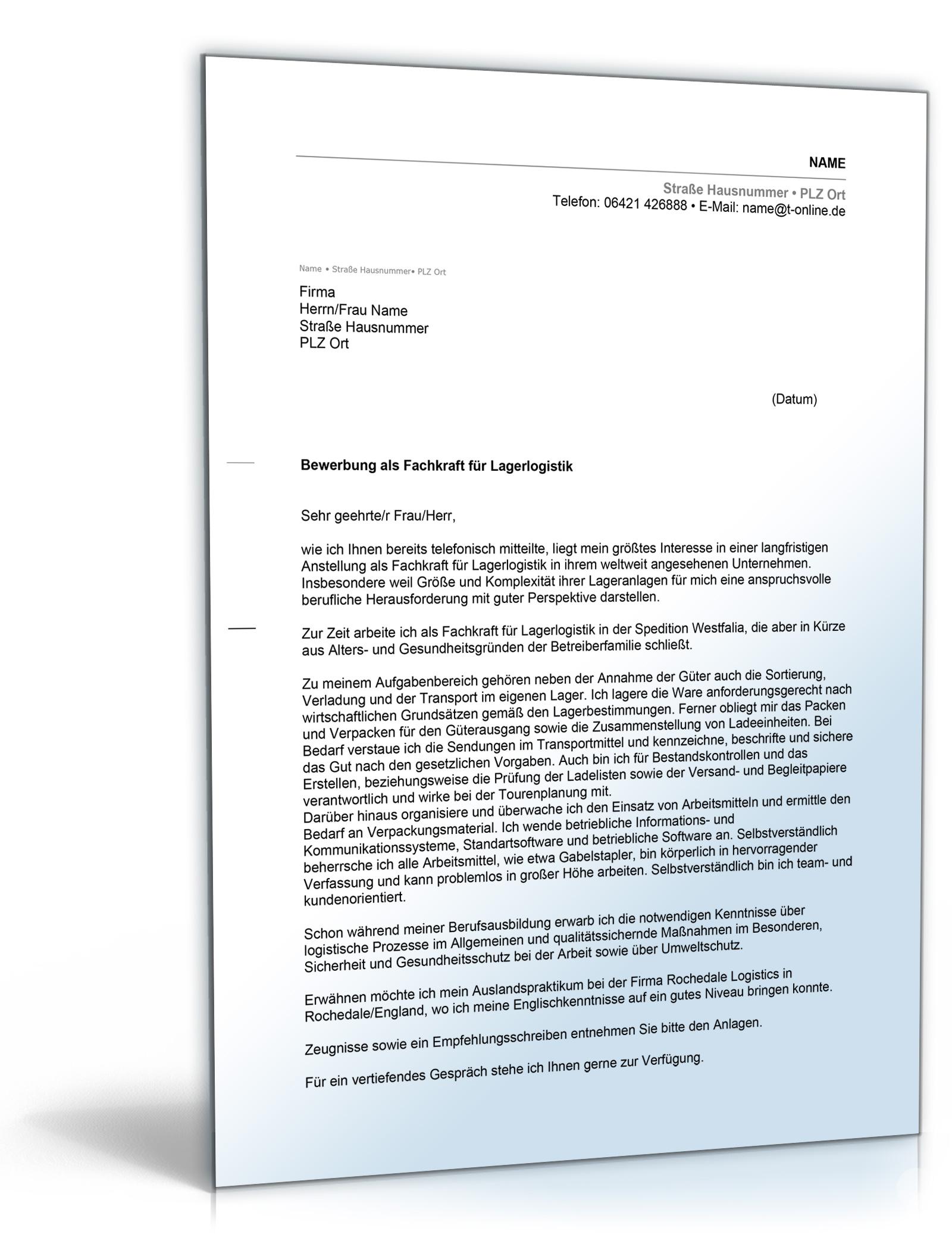Anschreiben Bewerbung Lagerlogistik [Word Dokument]: Amazon.de