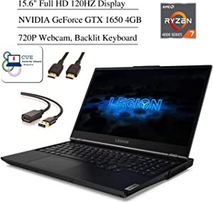 "Lenovo Legion 5 Gaming Laptop, 15.6"" Full HD 120Hz Screen, AMD Ryzen 7 4800H Processor, NVIDIA GeForce GTX 1650 Graphics, Backlit Keyboard, Windows 10 Home+ CUE Accessories (8GB RAM, 512GB SSD)"