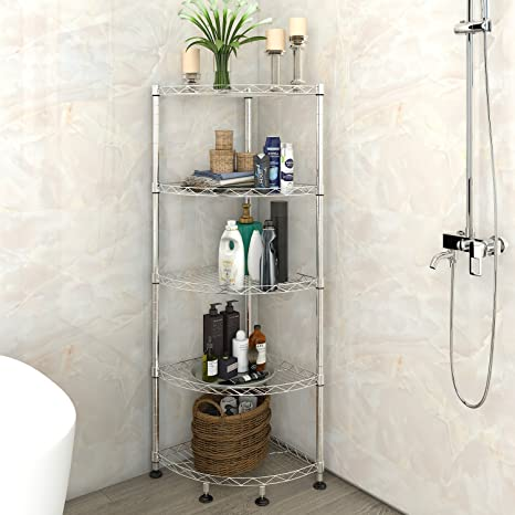 Lifewit Corner Shelf 5 Tiers Adjustable Metal Storage Wire Shelving Unit  For Bathroom, 13.8u0026quot;
