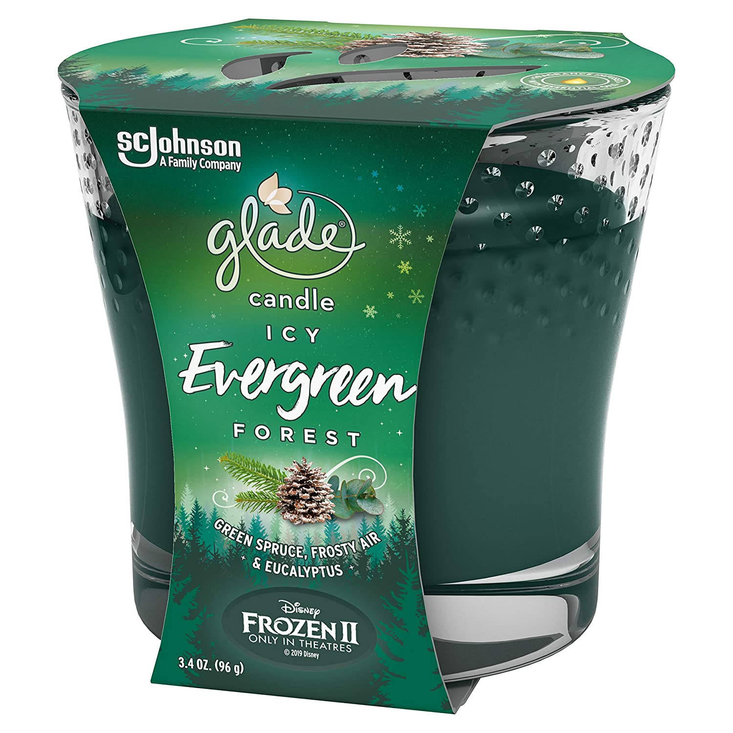 Fragrance Candle Infused with Essential Oils 3.4 Oz Glade Jar Candle Icy Ever Green Forest