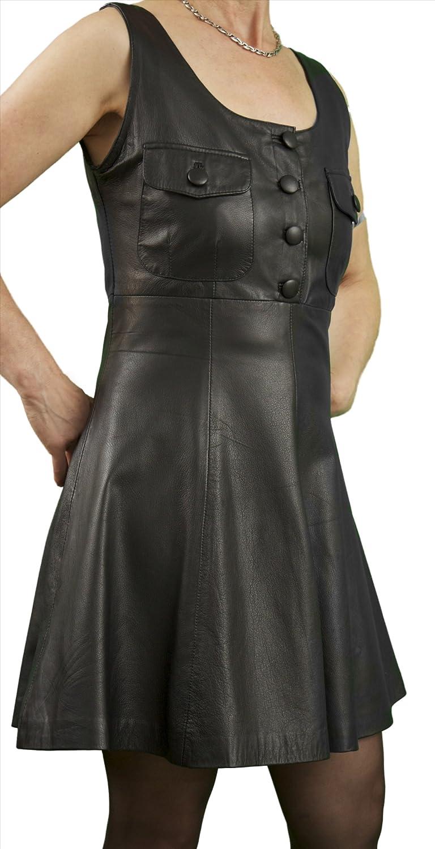 Short Black Soft Genuine Real Nappa Leather Schoolgirl Pinafore Mini Dress