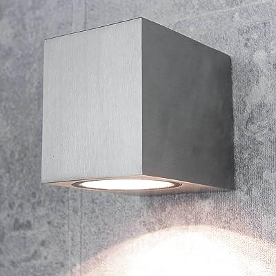 'Design Aalborg Applique murale extérieur carrés/aluminium/Douille GU10/IP44/Extérieur Résistant aux intempéries Lampe murale Lampe spot Façade.