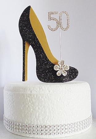 Forme De Cake Noir En 50e Wardrobe D'anniversaire Gâteau Chaussure 4Aj3R5L