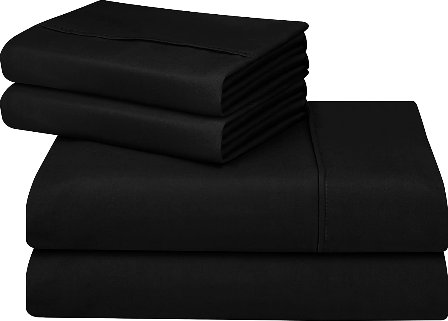 Utopia Bedding Soft Brushed Microfiber Wrinkle Fade and Stain Resistant 4-Piece Queen Bed Sheet Set - Black