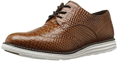 Cole Haan Women's Original Grand Wingtip Oxford,Woodbury Snake Print  Leather/Optic White,