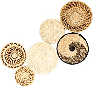 Wall Basket Decor, Boho Baskets Set of 6 Handmade Boho Wall Hangings, African Baskets for Wall, Use for Table or Wall Decor, Easy to Hang Woven Baskets