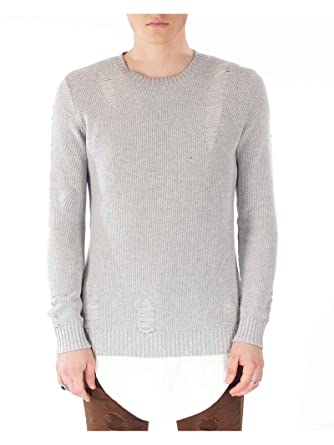 e696ed8fe0f Amazon.com  Project X Paris Lightweight Sweater with Rips 88167701 ...