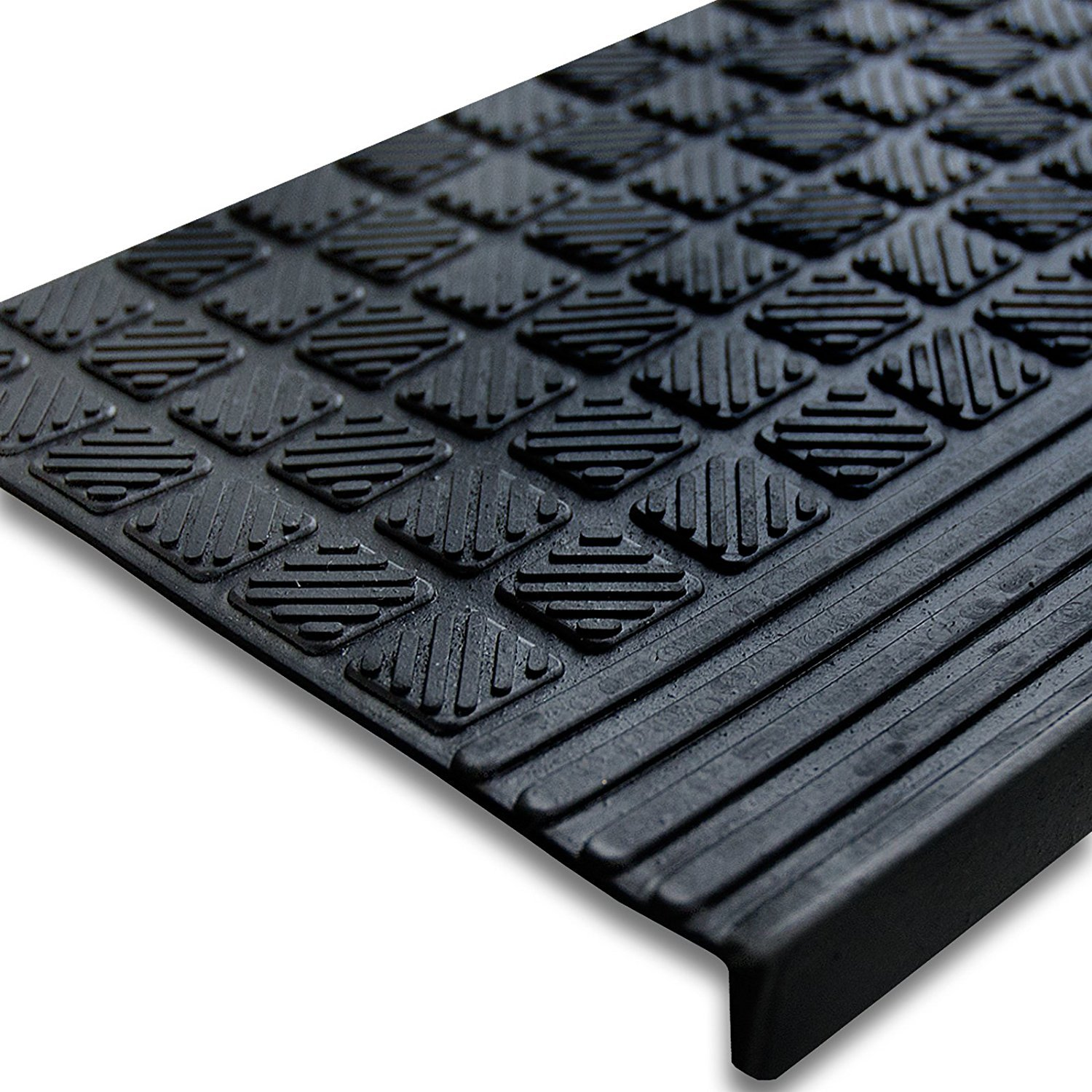 Rubber mats for stairs - Etm Set Of 5 Outdoor Rubber Non Slip Stair Treads Diamond 0 8