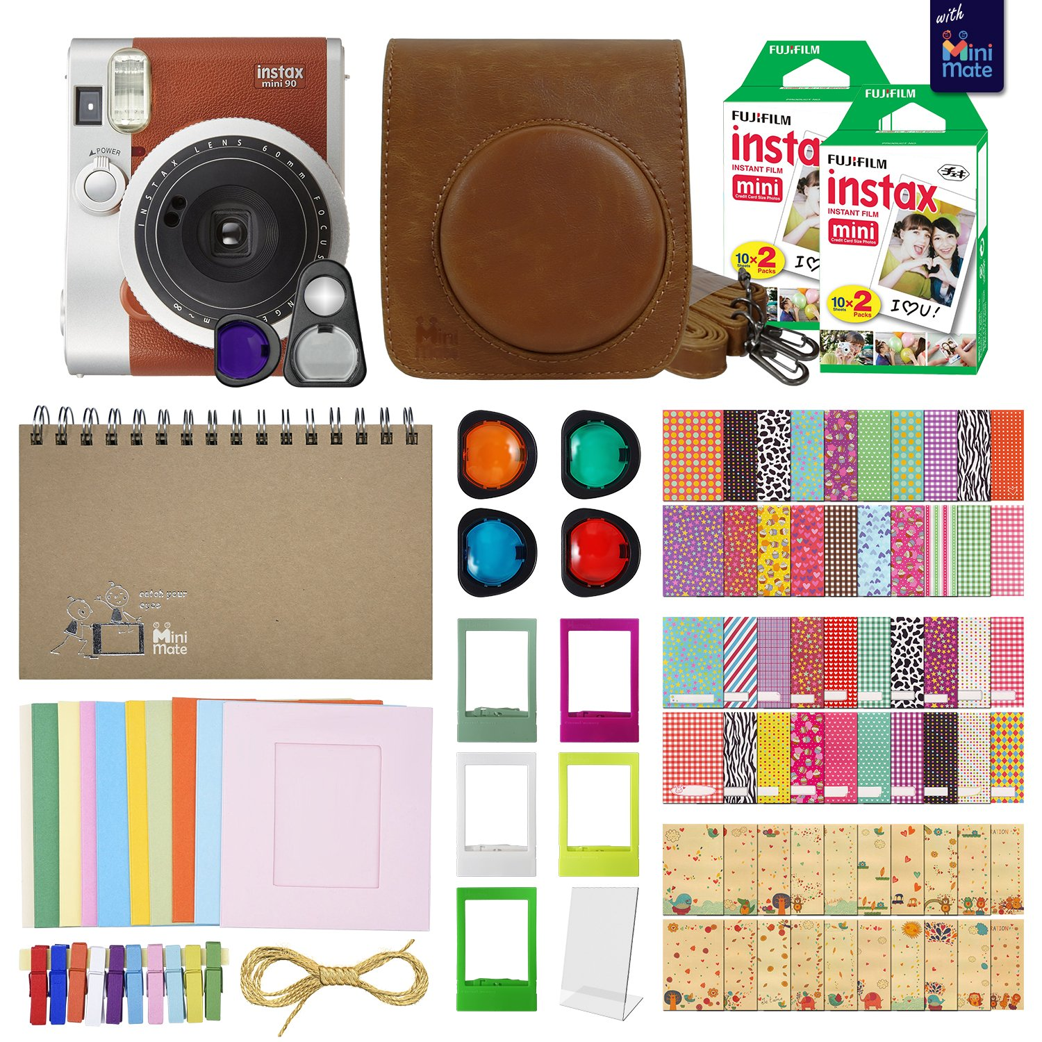 Fujifilm Instax Mini 90 Neo Classic Instant Film Camera (Brown) with 40 Instant Film + MiniMate Accessory Bundle. PU Leather Case, Frames, Retro Photo Album, Selfie Lens, Colored Filters and more by MiniMate