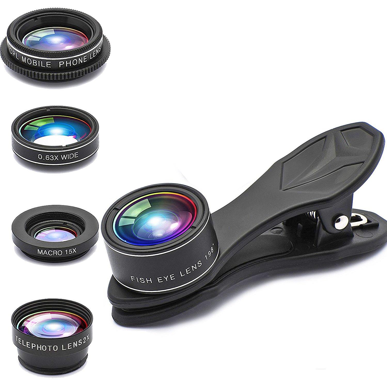 Phone lens 5 in 1 GUANZHI HD Camera Lens Kit 198 Degree Fisheye Lens/0.63x Wide Angle/15x Macro Lens/2X Telephoto Lens/CPL Lens for iPhone X/8/7/6/6s Plus/5s SE Samsung Galaxy S7/S7 Edge S6/S6 Edge