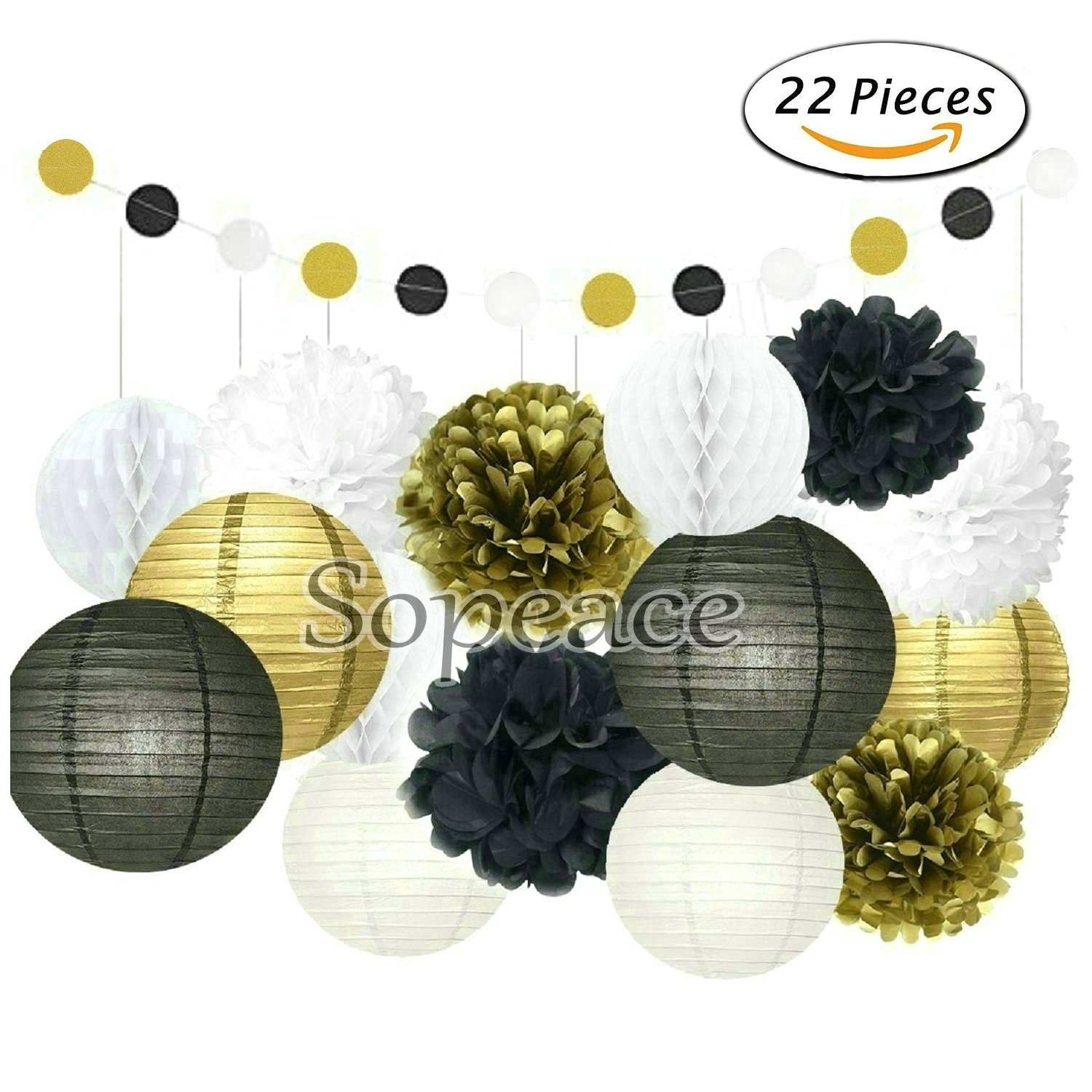 Sopeace 22 PcsMint Gold White Tissue Pom Poms Paper Flowers Paper Lanterns for Birthday Party Decoration