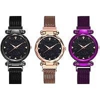 KDENTERPRISE Casual Designer Black Dial Combo of Magnet Watch - Pair of 3 - for Girls & Women - Black-Purple-Copper