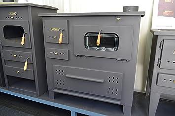 Estufa de leña de hierro fundido de Prity, quemador en la parte superior para cocinar al horno, 13 kW: Amazon.es: Bricolaje y herramientas