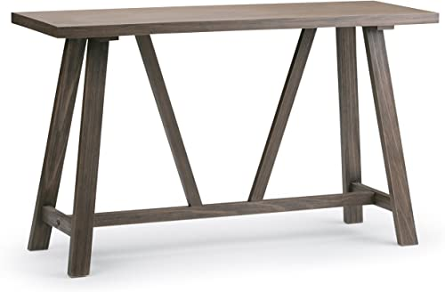 Simpli Home 3AXCDLN-05 Dylan Solid Wood 50 inch Wide Modern Industrial Console Sofa Table in Driftwood