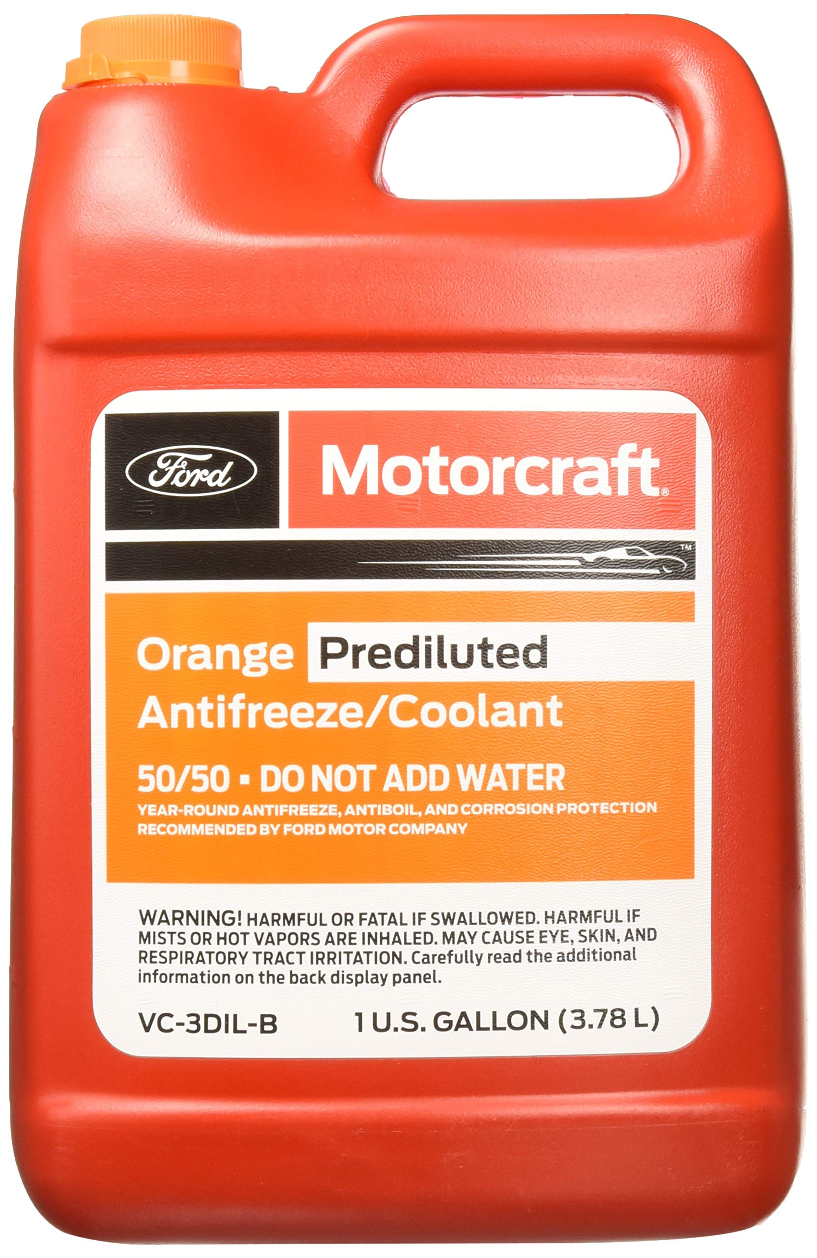 Genuine Ford Fluid VC-3DIL-B Orange Pre-Diluted Antifreeze/Coolant - 1 Gallon by Ford