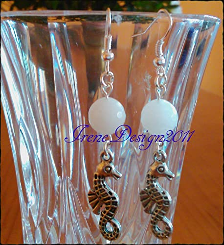 Facetted White Crystal & Seahorses Earrings