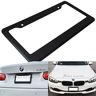 Mega Racer (1 Piece) JDM Style Matte Black License Plate Frame Front or Rear Plastic Cover Holder Tag US Auto Car Truck SUV RV Van: Automotive [5Bkhe1008135]