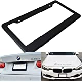 1 Pc JDM Style Matte Black Plastic License Plate Frame Front or Rear Cover Holder Tag US Auto Car Sedan Truck SUV RV Van