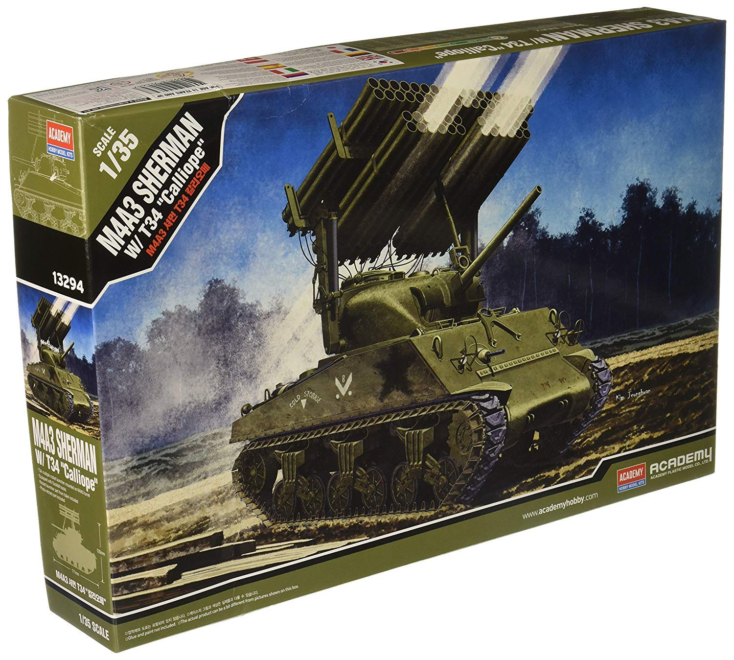 Academy M4A3 Sherman with T34 ''Calliope'' Model Kit