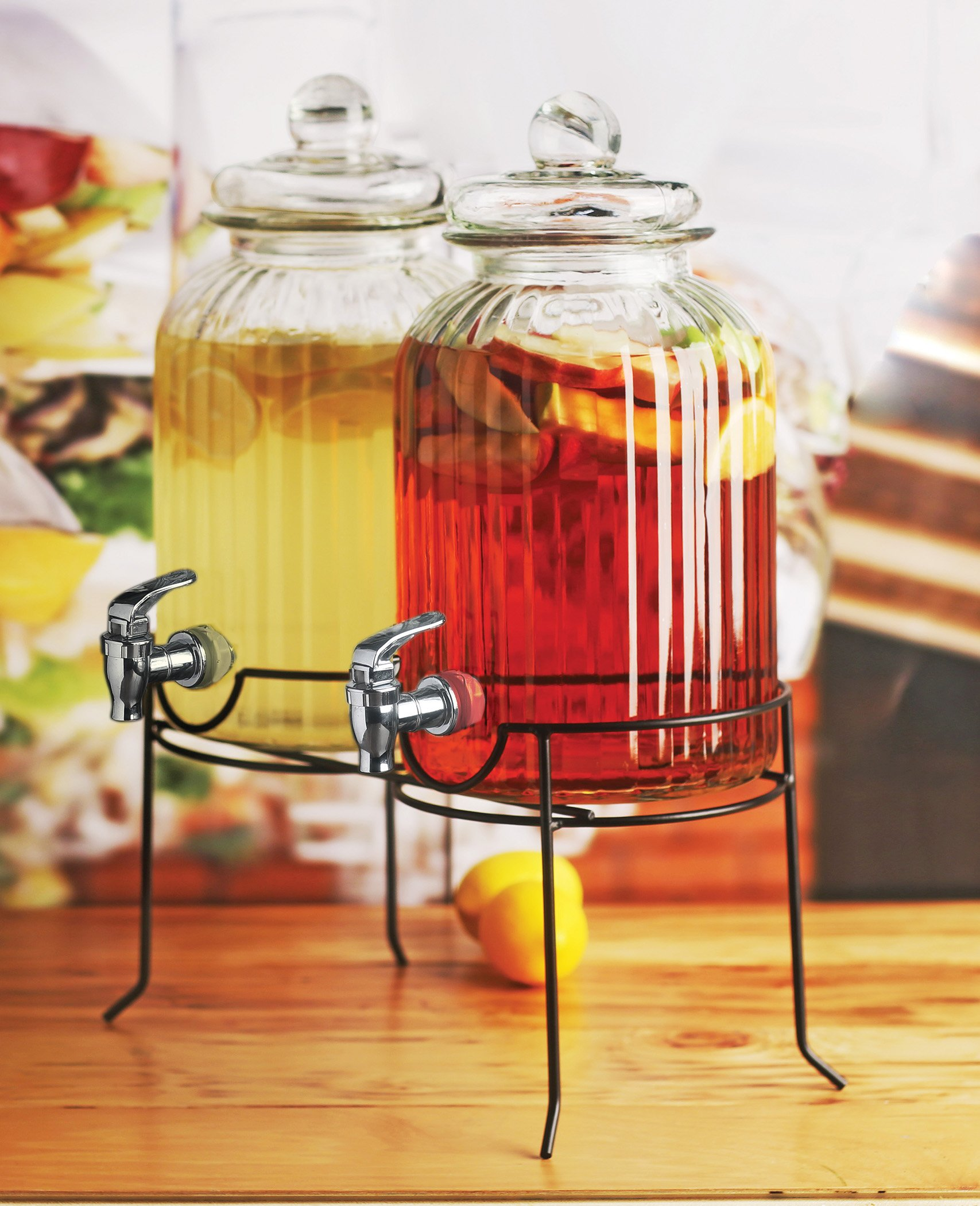 Circleware 66927 Sun Tea Mason Jar Double Glass Beverage Dispensers with Metal Stand and Lid Entertainment Kitchen Glassware for Water, Juice, Wine, Kombucha and Cold Drinks 1.3 Gallon Each Ridge by Circleware (Image #2)