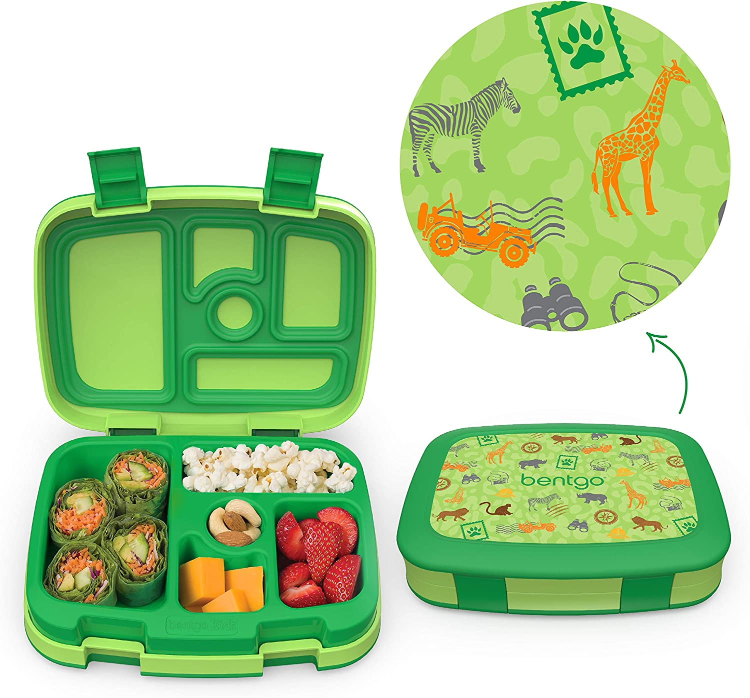 Bentgo Kids Prints Leak-Proof, 5-Compartment Bento-Style Kids Lunch Box - Ideal Portion Sizes for Ages 3 to 7 - BPA-Free and Food-Safe Materials - 2020 Collection - Safari