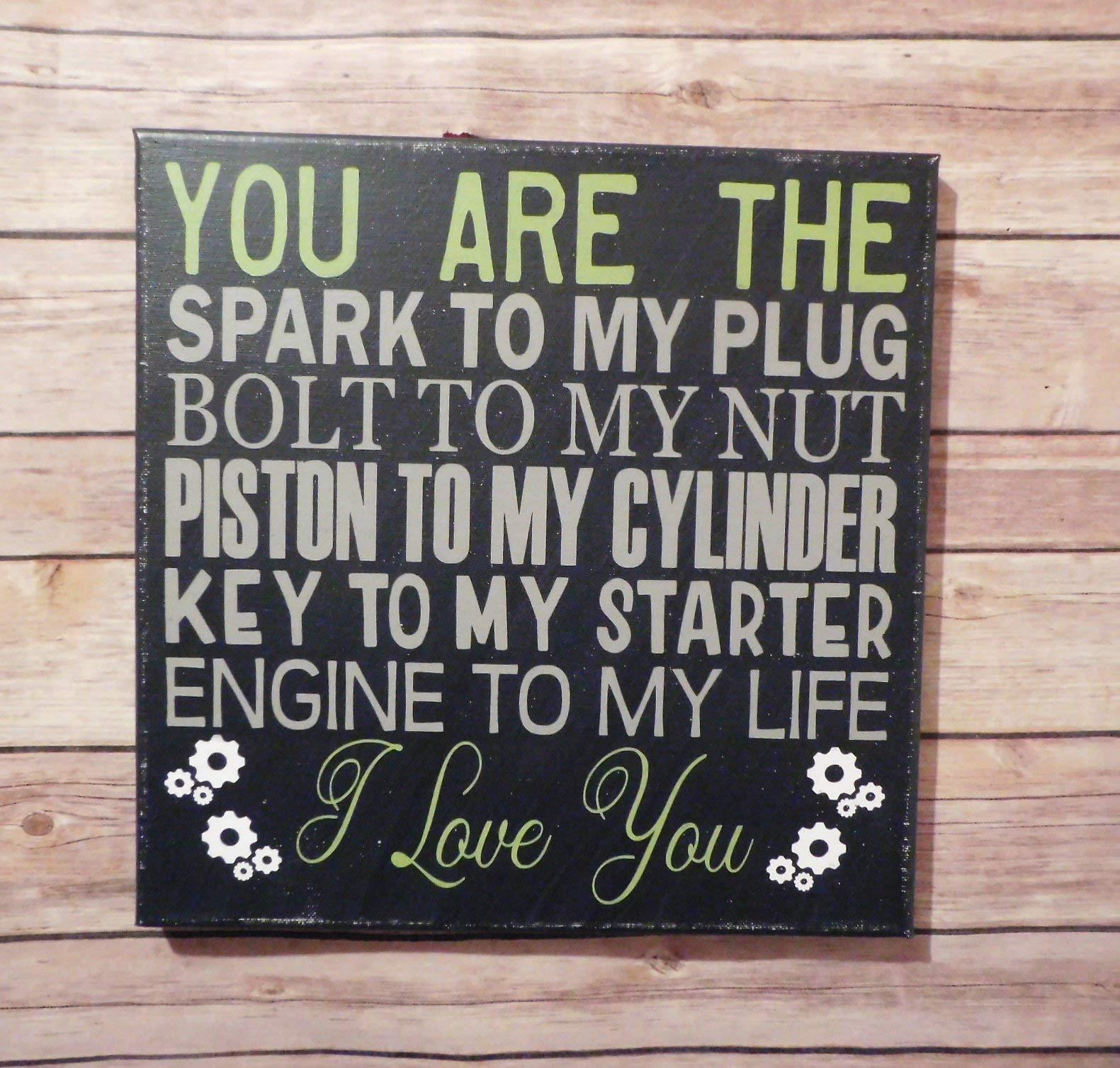 Mechanic Biker Love Sign 12x12'' Canvas Wall Decor Gift