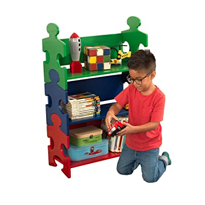 KidKraft Wooden Puzzle Piece Bookcase with Three Shelves - Primary, Multicolor, Model:14400: Toys & Games