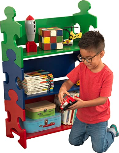 KidKraft Wooden Puzzle Piece Bookcase with Three Shelves - Primary, Multicolor, Model 14400