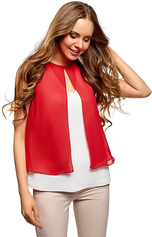 oodji Ultra Mujer Blusa de Dos Colores de Varias Capas