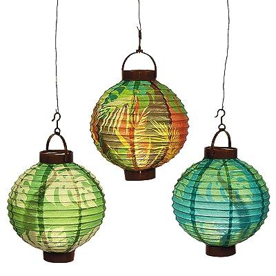 Fun Express - Luau Leaf Light Up Lanterns (3pc) for Party - Party Decor - Hanging Decor - Lanterns - Party - 3 Pieces: Toys & Games